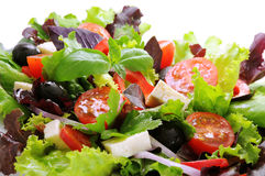 Vegetable salad with cheese and black olives. Salad from fresh vegetables, cheese mozzarella and olives, watered with olive oil Royalty Free Stock Images