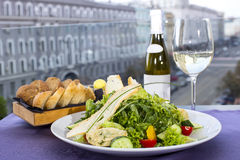 Vegetable salad and cheese. Salad vegetables an d goat cheese Royalty Free Stock Photography