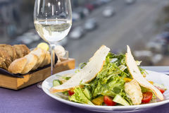 Vegetable salad and cheese. Salad vegetables an d goat cheese Stock Photo