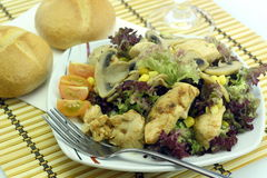Vegetable salad with chicken. And mushrooms Stock Image