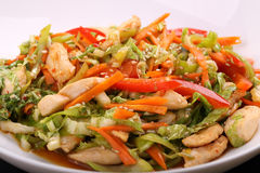 Vegetable salad with chicken. Vegetable salad with roast chicken Royalty Free Stock Image
