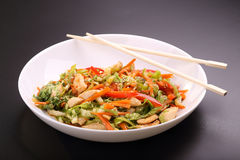 Vegetable salad with chicken. Vegetable salad with roasted chicken Stock Photos