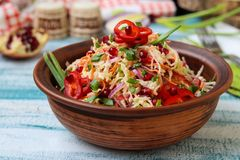 Vegetable salad with Chinese cabbage, sweet peppers and pomegranate stock image