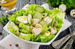 Vegetable salad with cod liver Stock Image