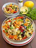 Vegetable salad with couscous. Bowl with vegetable salad with couscous Stock Photos