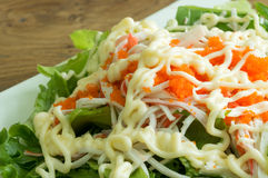 Vegetable salad with crab eggs Royalty Free Stock Images