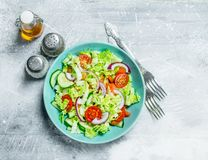 Vegetable salad. Salad of cucumbers, tomatoes and red onions with spices and olive oil. On a rustic background royalty free stock photos