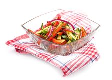 Vegetable salad with cucumbers and tomatoes. stock images