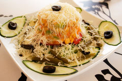 Vegetable salad. Delicious vegetable salad with cheese stock images