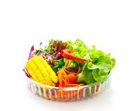 Vegetable salad on delivery package Stock Photo