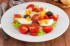 Vegetable salad with egg Stock Photo