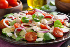 Vegetable salad with feta cheese on a plate, close-up Stock Photos