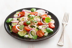 Vegetable salad with feta cheese on white wooden table Royalty Free Stock Photography