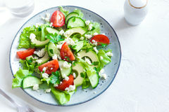 Vegetable salad with feta Stock Photography