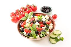 Vegetable salad with feta. Olive and tomato Stock Photo