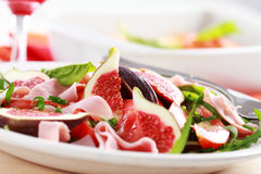 Vegetable salad with fresh figs Stock Photo