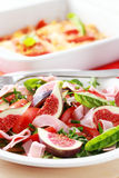 Vegetable salad with fresh figs Royalty Free Stock Photography
