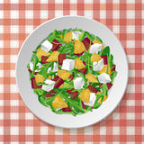 Vegetable salad with fresh tasty arugula, rucola rocket green  Royalty Free Stock Photos