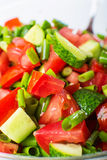 Vegetable salad with fresh tomatoes cucumbers and green onions Stock Image
