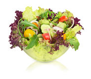 Vegetable salad in glass bowl.isolated. Royalty Free Stock Photo