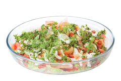 Vegetable salad in a glass dish. Stock Images