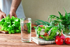 Vegetable salad with a glass of pure water Stock Images