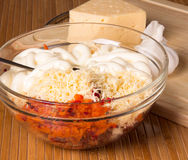 Vegetable salad with grated cheese Stock Images