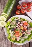 Vegetable salad with ham Royalty Free Stock Photography