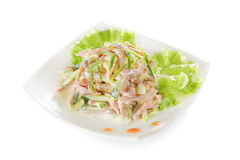 Vegetable salad with ham and mushrooms. Stock Photo