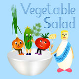Vegetable Salad. Happy onion, cucumber and tomato sitting on salad bowl, standing next to the mayonnaise Stock Photos