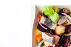 Vegetable salad with herring on the white background top view Royalty Free Stock Image