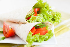 Vegetable Salad In A Thin Pita Royalty Free Stock Photography