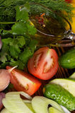Vegetable Salad Ingredients and Olive Oil Royalty Free Stock Images