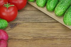 Vegetable Salad Ingredients On The Wood Cutting Board Stock Photography