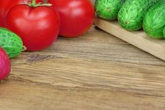 Vegetable Salad Ingredients On The Wood Cutting Board Stock Images