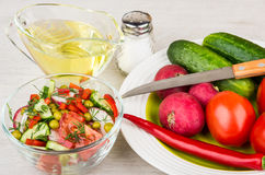 Vegetable salad, jug of oil and plate with miscellaneous vegetab Stock Image