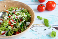 Vegetable salad in a large bowl Stock Photos