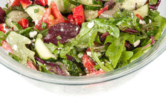 Vegetable salad in a large glass bowl. Vegetable salad in a glass bowl Royalty Free Stock Photos