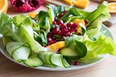 Vegetable salad - lettuce, corn salad, cucumber, avocado, orange stock images
