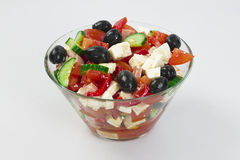 Vegetable salad. Made from cheese, red pepper, tomatoes, olives, cucumber Stock Photography