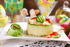 Vegetable salad with mayonnaise and cucumber for easter Royalty Free Stock Photos