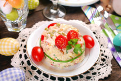 Vegetable salad with mayonnaise for easter Stock Image