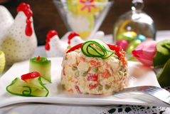 Vegetable salad with mayonnaise for easter Stock Photo