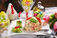 Vegetable salad with mayonnaise for easter Stock Images