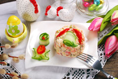 Vegetable salad with mayonnaise for easter Royalty Free Stock Image