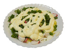 Vegetable salad with mayonnaise in a white plate Stock Images