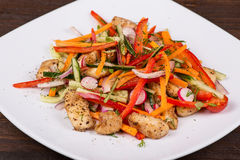 Vegetable salad with meat Royalty Free Stock Photography