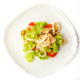 Vegetable salad with meat and seafood Royalty Free Stock Photography
