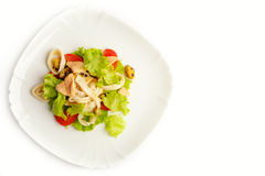 Vegetable salad with meat and seafood Stock Photography