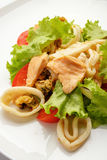 Vegetable salad with meat and seafood Stock Photo
